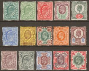 1902 Edward VII Basic Stamp Set Of 15 Mounted Mint
